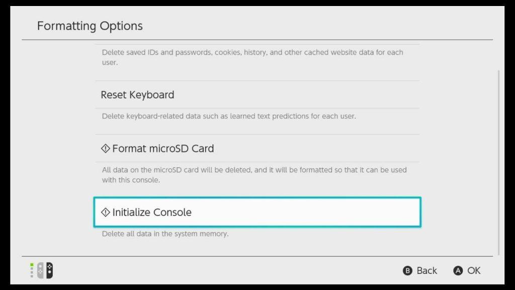 Nintendo Switch Initialize Console